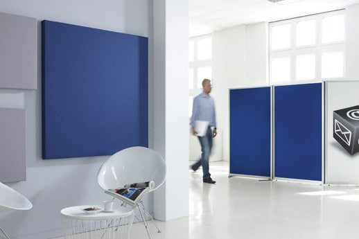 Akustikelement / stoffbezogen / Geräusch / Schall / Konferenzraum / Video / Lautstärke / Wand / Kantine