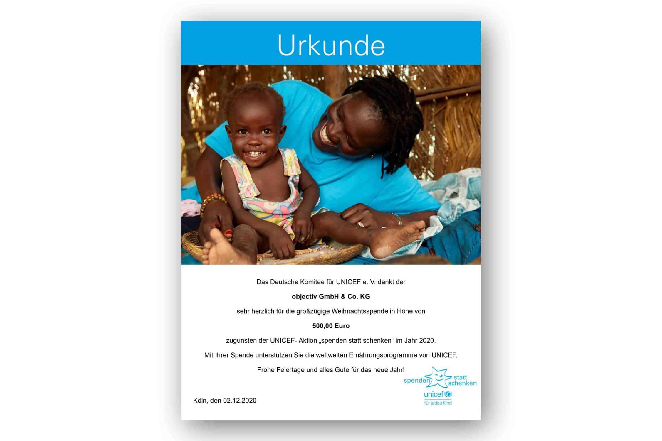 Spendenurkunde von Unicef für objectiv / spenden statt schenken